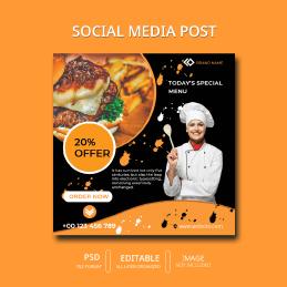 Food Restaurant Social Media Post Design